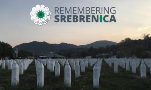 """Remembering Srebenica"" written over a picture of many graves"