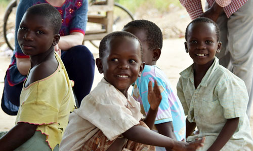 Smiling children in Uganda