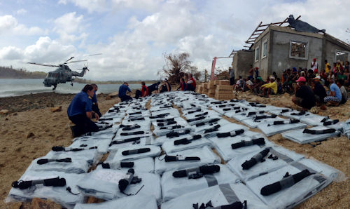 Emergency supplies laid out on a beach