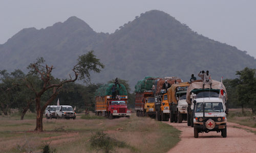 A convoy of research aid vehicles